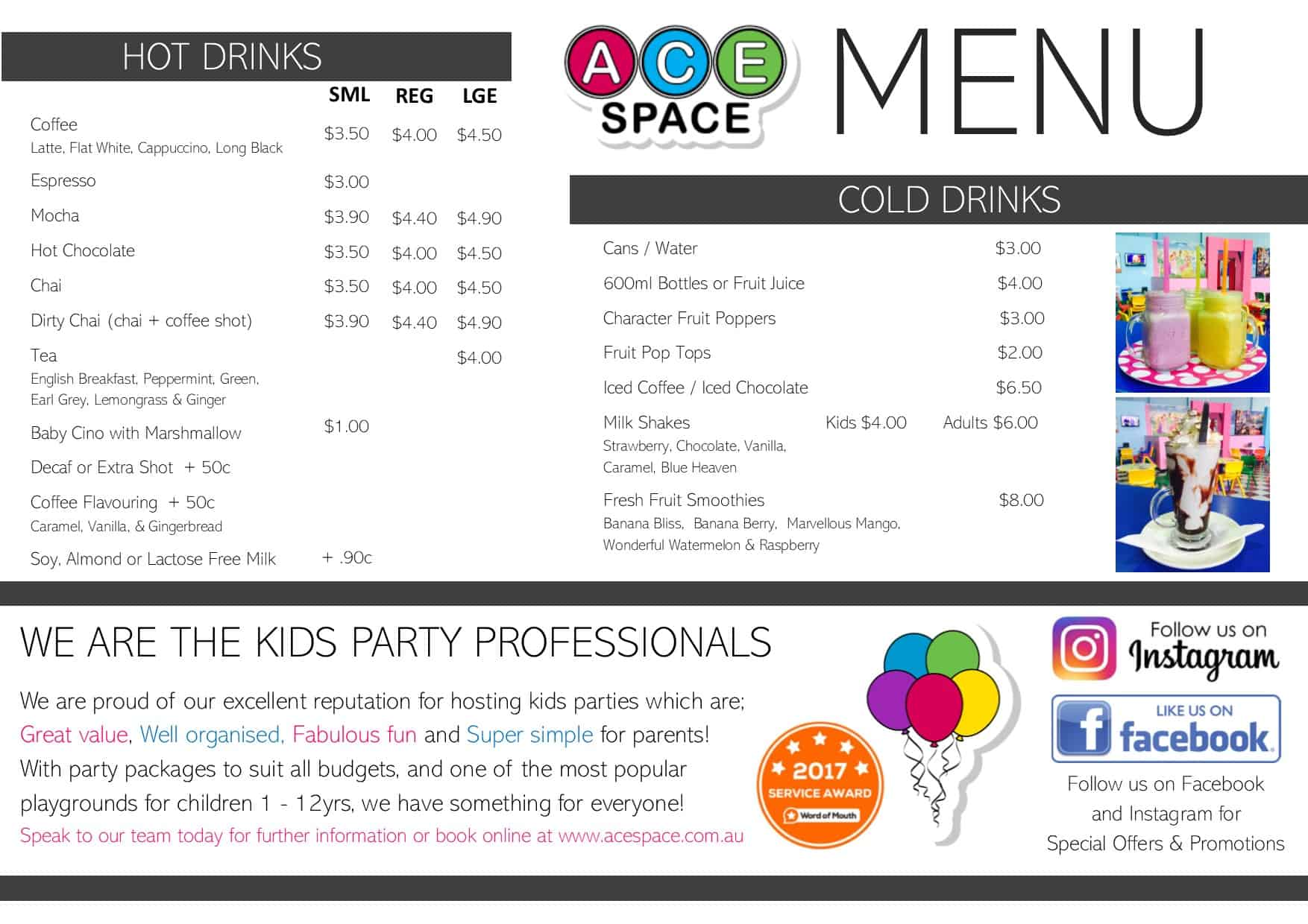 Ace Space Winter Menu 2018 SIDE 2 jpeg